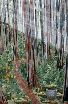 "Del Norte Coast Redwoods State Park, landscape art quilt by  Kim Heaps: ""I fused layers of cotton fabric to develop the texture of the tree bark... Using a fern-printed fabric and batiks, I created the forest floor... The fog was created using pearl acrylic paint diluted with water and applied with a stencil brush. The hiker was painted with acrylic paint on muslin and glued to the trail."""