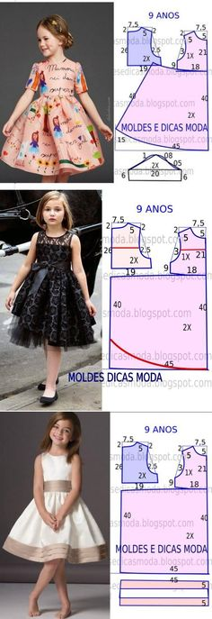 Sewing Ideas 10 patrones de vestidos para niñas - hecho a mano - 10 выкроек платьев для девочек — HandMade Baby Dress Tutorials, Baby Dress Patterns, Kids Patterns, Coat Patterns, Blouse Patterns, Fashion Sewing, Kids Fashion, Little Girl Dresses, Girls Dresses