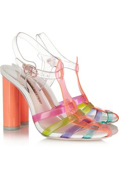 Heel measures approximately 100mm/ 4 inches Multicolored vinyl Buckle-fastening ankle strap