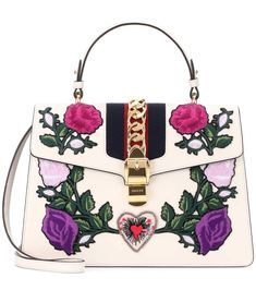 Sylvie Embroidered Leather Tote   Gucci - mytheresa