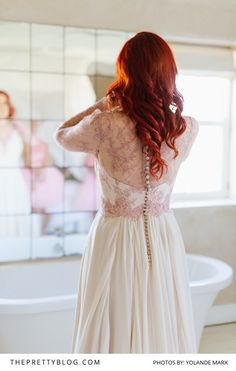 Soft and floaty silk chiffon dress with dusty pink lace detail by Elbeth Gillis Silk Chiffon, Chiffon Dress, Wedding Dress Styles, Pink Lace, Lace Detail, Real Weddings, Marie, Wedding Day, White Dress