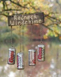 Redneck windchimes.....lol. If this was a TRUE redneck wind chime it would have OLD MILWAUKEE cans ... lol :)