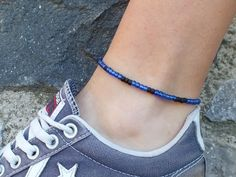 Adjustable waterproof anklet with blue and black beads is perfect addition to your summer accessories - great for the beach, lake, river, swimming and other water sports - they are available in a range of colors. Delicate anklet can be adjusted to any length if needed from 7 to 15 inches. It is secure and comfortable to put in-out by yourself. Summer Accessories, Summer Jewelry, Beach Jewelry, Beaded Anklets, Beaded Necklace, Beaded Bracelets, Surfer Bracelets, Anklet Bracelet, Water Sports