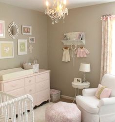Gorgeous nursery for a baby girl. Grey, pink, pastels.