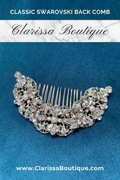 Encrusted Swarovski back comb is great for the classic bride and the classic chignon hairstyle..#bridalaccessory #clarissaboutiquepittsburgh #clarissaboutique #pittsburgh #bridalboutique #burghbrides #bride #bridetobe #bridalhaircomb #weddinghair #bridalwear #bridalfashion #bridalstyle #wedding #chignonhairstyle#bohobride #bridalhair #weddinginspiration #bridaljewelry #bridalcomb
