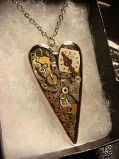 Clockwork Heart with Gears and Watch Parts by ClockworkAlley #steampunkheart #steampunkjewelry #clockworkheart #steampunk #watchparts #lakeeola #valentineddaygift #gift