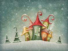 Winter houses illustration