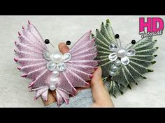 DIY - How To Make Butterfly with satin ribbon Ribbon Jewelry, Ribbon Art, Diy Ribbon, Ribbon Crafts, Kanzashi Flowers, Diy Flowers, Fabric Flowers, Flower Tutorial, Diy Tutorial