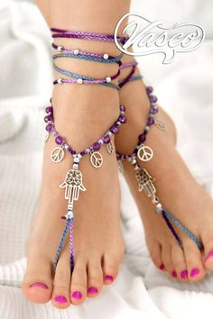 Barefoot Sandal, Yoga Accessories, Hamsa Hand, Unique Gift For Her - Barefoot Sandal Yoga Accessories Hamsa Hand Unique by VascoDesign - Ankle Jewelry, Ankle Bracelets, Feet Jewelry, Diy Jewelry, Gold Jewelry, Yoga Accessoires, Crochet Barefoot Sandals, Beautiful Toes, Unique Gifts For Her