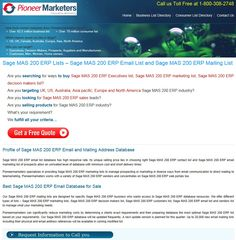 Sage MAS 200 ERP Marketing List from PioneerMarketers - http://www.pioneermarketers.biz/email-list/sage-mas-200-users-email-and-mailing-list