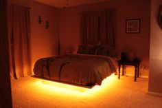 Our latest addition to our platform bed, rope lighting underneath! :)