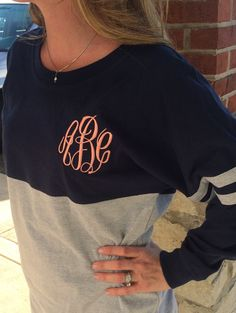 Spirit Shirt Navy/Heather Grey Monogram by MONOGRAMSINC on Etsy