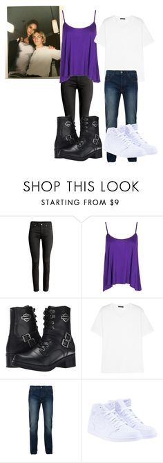 """Courtney Eaton&Ross Lynch Evening Walk"" by katie-r5er-forever ❤ liked on Polyvore featuring Boohoo, Harley-Davidson, Acne Studios, Bellfield, NIKE, R5, ross, Courtney, rourtney and rossandcourtney"