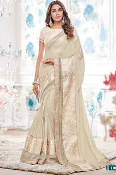 1eeeb7f69b086 Buy Best price latest designer Lycra Designer Saree In Off White Colour  online in india