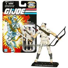 "Hasbro GI JOE A Real American Hero 25th Anniversary Series 4"" Tall Figure - Ninja STORM SHADOW with Katanas, Arrows, Bow, Dagger and Display Base"