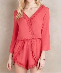59.99$  Buy here - http://viqmm.justgood.pw/vig/item.php?t=qhwbwv651174 - Anthropologie Lace-Trimmed Romper by Elevenses $138 Sz M - NWT 59.99$