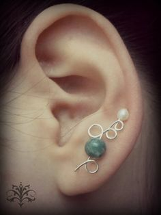 Handmade Ear Climbers Earrings Wire and Beads Pin by CatArtistic