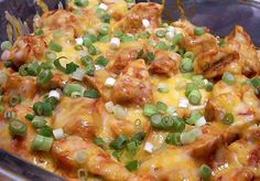 Low Carb Mexican Chicken Ingredients: 2 pound boneless chicken breast 1 package taco seasoning salt to taste 1 10 oz can enchilada sauce 1 cup cheddar cheese, shredded 6 green onions, chopped Directions: 1 - Rinse chicken. Pat dry. Cut chicken into cubes and place in bowl. 2 - Sprinkle taco seasoning and salt to taste over chicken and mix by hand. 3 - Saute chicken in skillet until done. 4 - Add e...nchilada sauce and stir well. 5 - Pour chicken mixture into greased 9 x 13 baking dish. 6…