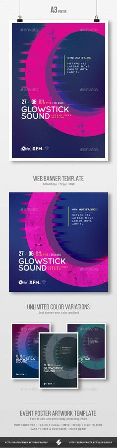 Glowstick Sound  Minimal Party Flyer / Poster Template A3 #event #electronic • Download ➝ https://graphicriver.net/item/glowstick-sound-minimal-party-flyer-poster-template-a3/21334260?ref=pxcr