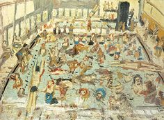 Leon Kossoff, London painter, art school favorite, painted a series of swimming pool painting between 1969 and 1972. Inspired by taking his son to swimming lessons, he captured the thickness of mid summer, noisy, bored kids, stingy eyes and the smell of chlorine. PS. Peep more swimming observations @ Leanne Shapton's blog [here].