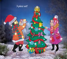 Lighted Tree Decorating Garden Stakes - 3pc