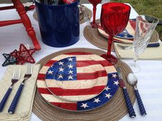 Labor Day, Memorial Day, 4th of July, Americana Plates, Red, White and Blue