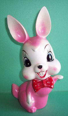 "LARGE 8 1/2"" VINTAGE PINK CERAMIC RABBIT BUNNY. RED BOW TIE JAPAN VERY CUTE"