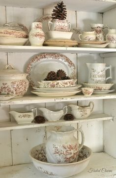 Vintage shelving with brown & white transferware dishes.