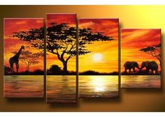 African Painting 157 - 52 x 30in I love this idea! Multiple Canvas sizes for one piece... will have to try something like this!: