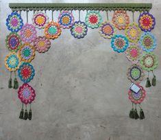 Crochet Curtains, Crochet Doilies, Crochet Flowers, Granny Square Crochet Pattern, Crochet Squares, Crochet Patterns, Crochet Decoration, Crochet Home Decor, Crochet Mandela