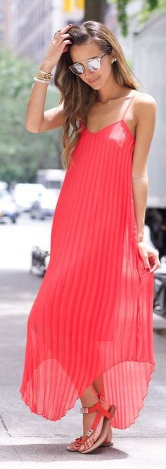 #summer #maxi #dress | Red Pleated Asymmetrical Hem Maxi Dress