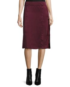 Public School Sanaa Satin A-line Midi Skirt In Burgundy Satin Midi Skirt, Urban Street Style, Derby Shoes, School Fashion, Public School, Silk Satin, Leather And Lace, Luxury Fashion, Lace Up
