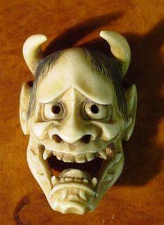 Noh | ... Oates Jeffery Collection - Ivory Netsuke - Hannya Noh Mask Netsuke