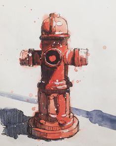 Fire hydrant urban sketch by Jiri Zraly