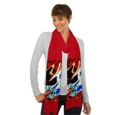 SOLD!  Colorful abstract on red scarf - This scarf would make a great gift for anyone, any occasion - birthday, retirement, Christmas, thank you ... Scarf is decorated by my original photograph which was manipulated to make this colorful abstract.  It matches many of the products that are available at www.zazzle.com/SocolikCardShop*, including scarves, wallets, ornaments, candy tins, and other gifts and cards. Scarf is also available in blue.  All Rights Reserved © 2013 Alan & Marcia Socolik