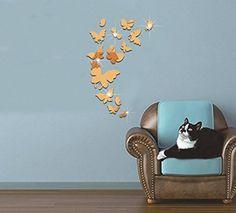 Extsud® Adesivo Murales Carta da Parete Farfalle, Wall Stickers a Specchio, Decorazione da Muro per Casa Hotel Salotto Camera da Letto Camerette da Bambini (Oro)