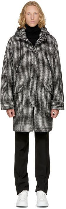 Ami Alexandre Mattiussi Black and White Long Houndstooth Parka