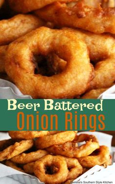 Whether you serve these Beer Battered Onion Rings as an appetizer or as a side dish they're guaranteed to have hungry eaters running to the table. Beer Battered Onion Rings, Baked Onion Rings, Onion Rings Recipe, Batter For Onion Rings, Homemade Onion Rings, Beer Battered Fish, Vegetable Dishes, Vegetable Recipes, Baked Onions