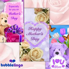 Hurry and send a Bubblelingo Mother's Day E-card today. Download the Bubblelingo App on iPhone and Android. #Bubblelingo #freeapp #messaging #mothersday #ecard #wallpaper