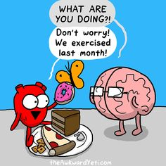 Humor In Dites & Fitness ☤ MD ☞✪ The Awkward Yeti comics. Discovred by : MediaMed Akward Yeti, The Awkward Yeti, Awkward Funny, Funny Cartoons, Funny Memes, Hilarious, Workout Humor, Gym Humor, Exercise Humor