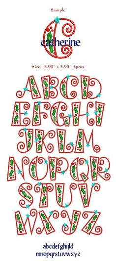 Christmas Letters How Cute! Hand Lettering Alphabet, Doodle Lettering, Creative Lettering, Lettering Styles, Calligraphy Letters, Caligraphy, Fonte Alphabet, Alphabet Design, Letter Designs
