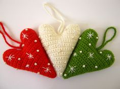 Christmas ornaments - Crochet Hearts - Set of 3 hearts $22 (without a pattern.They sell them on etsy.)