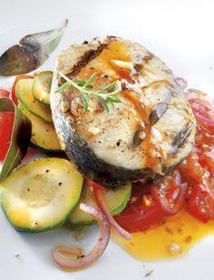 Darne de Merlu Blanc du Cap grillée et sa fondue de légumes Dîner du 13 avril