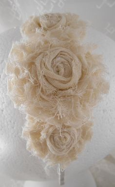 Hair Band with 3  Shabby Chic flowers with rolled Rose Centres.. Wedding, Party
