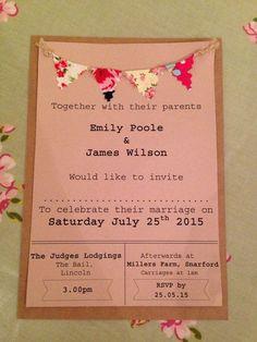 Wedding Invitation Sample-vintage/bunting/kraft/tea party/garden party/wedding