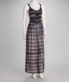 Take a look at this Gray & Pink Tie-Dye Twist-Back Maxi Dress by Costa Blanca on #zulily today!