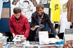 Gringo Records and Hello Thor sharing a stall at the Indie Label Market 2015 (photo by Lauren Towner)   #spitalfields #vinyl #independent #music #indie #gringo #hellothor #record # label #nottingham #london