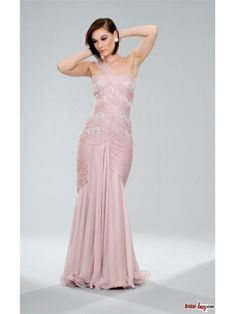 Buy Custom Made High Quality New Fashion in Style Mermaid One Shoulder Ruched Rhinestone Long Chiffon Prom Dresses/Evening Dresses PD-20827 at wholesale cheap prices from Bridal-Buy.com