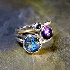Sterling Silver Stacking Rings Opal Amethyst by LavenderCottage, $65.00 - want these!
