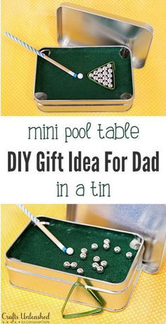 46 Tiny Homemade Gifts That Make The Cutest DIY Stocking Stuffer Ideas Ever! Fun Homemade Gifts for Friends & Cute DIY Stocking Stuffers for Christmas & Easy DIY Crafts Ideas & Mini Pool Table in a. Homemade Gifts For Friends, Diy Gifts To Make, Dad Gifts, Gifts For Daddy, Cool Gifts For Dad, Homemade Gifts For Christmas, Husband Gifts, Diy Crafts For Gifts, Gifts For Father